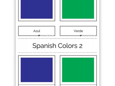 3 Part Color Cards, Spanish